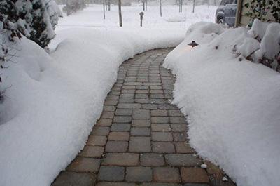Тротуарная плитка в зимнее время года